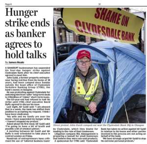 Scottish Daily Mail, John Guidi suspends hunger strike 21st March 2019